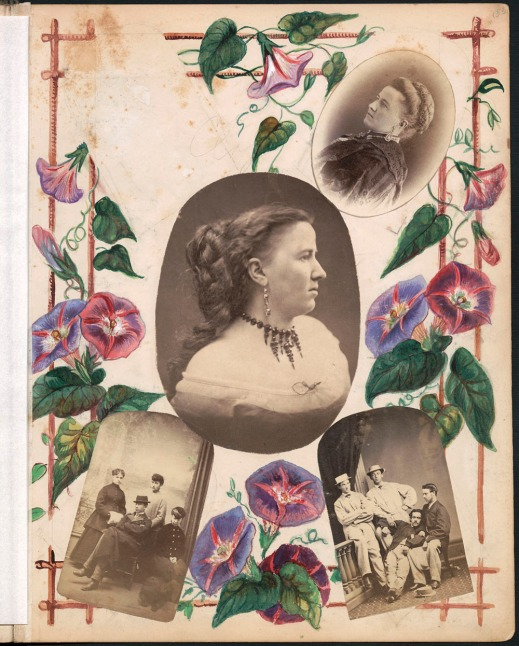 An album page with a photograph of the album's owner, Sarah Howard, in the centre of the photocollage. Her image is surrounded by paintings of morning glory flowers, and an individual and two group portraits of people who are likely Howard's family and friends.