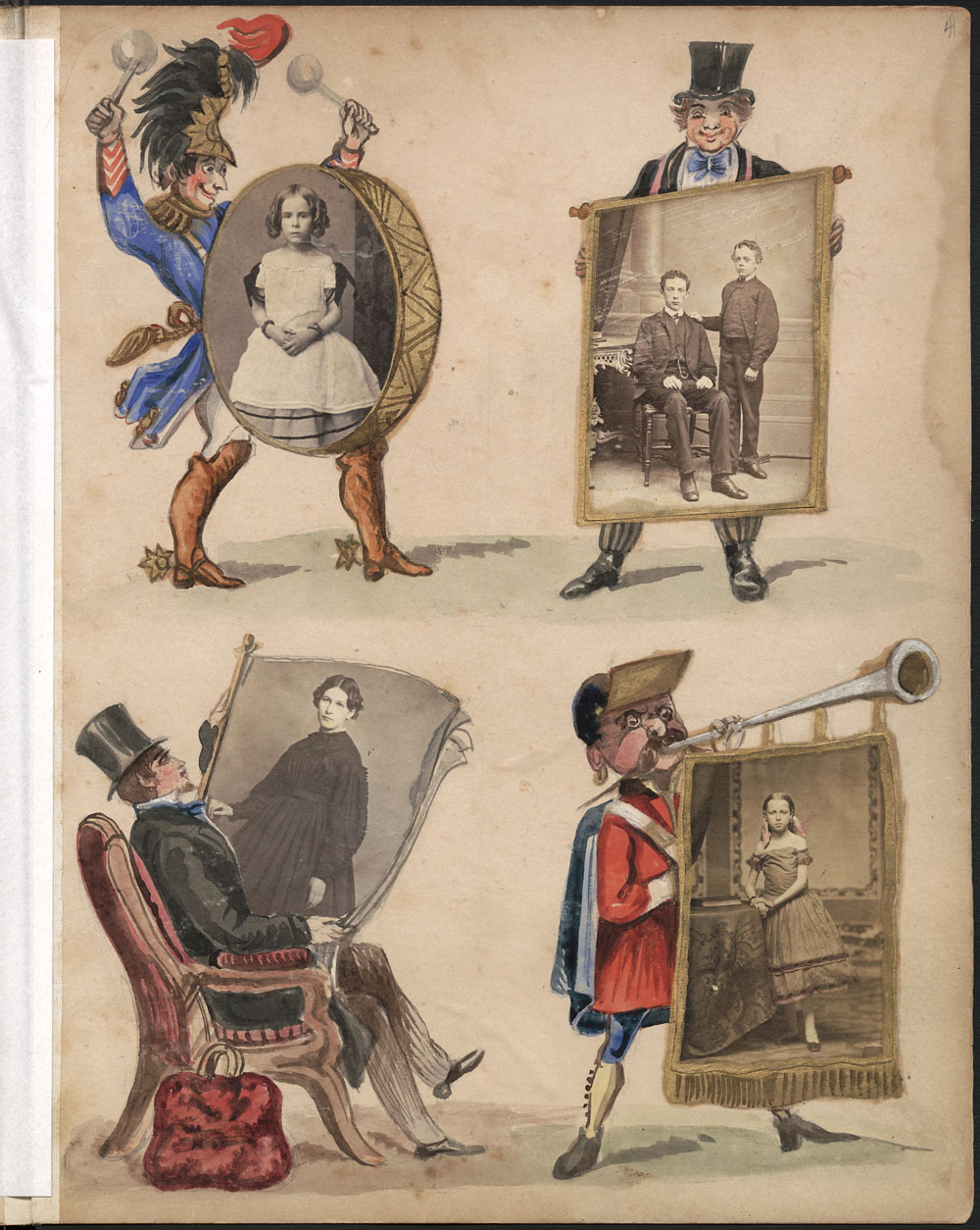 An album page of coloured images that include a man beating a drum, a man holding a poster, a man sitting in a chair reading a newspaper and a man blowing a horn with a banner attached. There are four photographs, embedded in the drum, poster, newspaper and banner.
