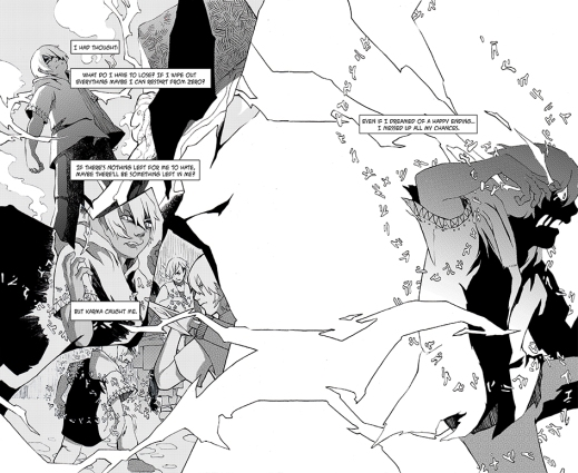 A black and white hand-drawn image of characters from the graphic novel Halfsoul