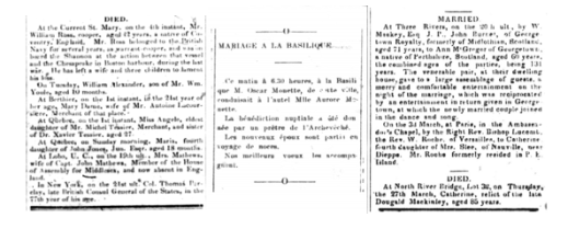Three columns of text from newspapers, with information about deaths and marriages.