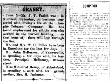 "Two columns of text from newspapers, with the headings ""Granby"" and ""Compton,"" which provide information about residents of the towns."