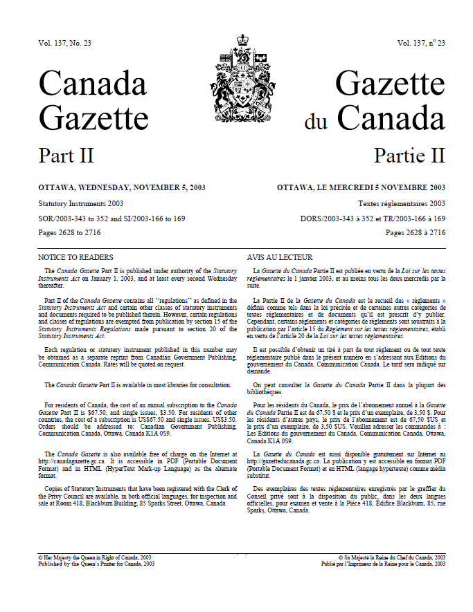 A typewritten page with two columns of text, separated by a crest. The text on the left is in English and the text on the right is in French.
