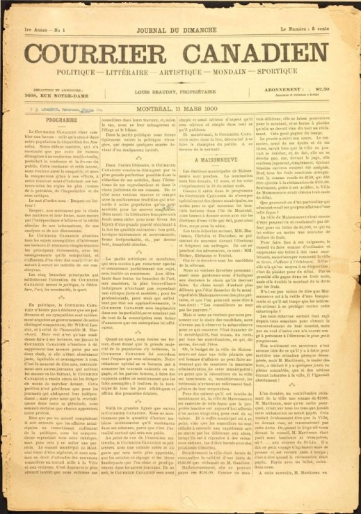 An image of a four-column newspaper, Courrier canadien.
