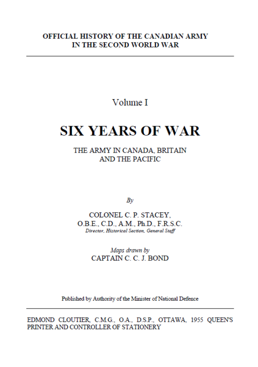"""The cover page of """"Official History of the Canadian Army in the Second World War."""""""