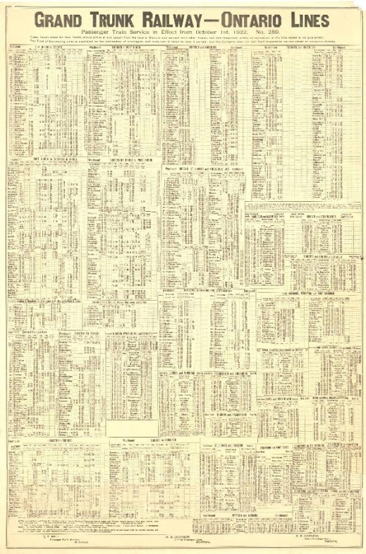 An image of a Grand Trunk Railway timetable from 1922.
