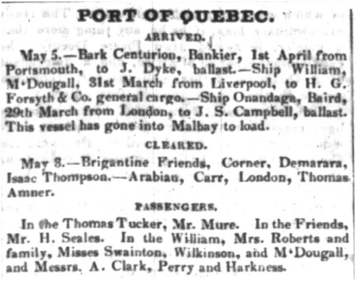 "A column of text from a newspaper, with the heading ""Port of Quebec."""