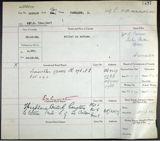 "A form with many typed and handwritten notations. ""Exhumation"" is written in red ink above the typed words ""Confirmed Burial Report."""