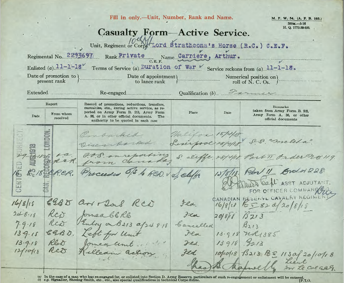 "A typed and handwritten form with the title ""Casualty Form—Active Service."" The regimental number, rank and name of the soldier is typed underneath in blue ink along with handwritten notations."