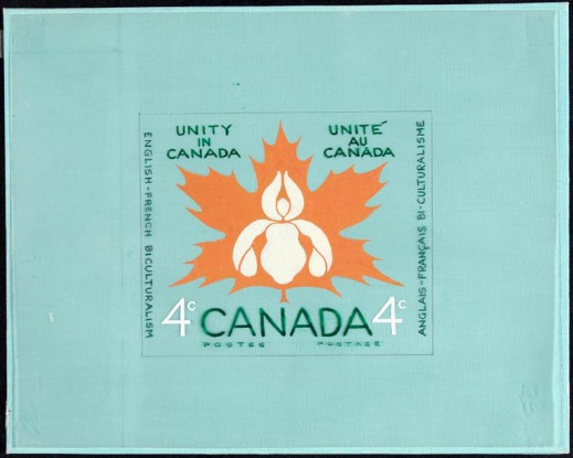 "Painting of a stamp design with a turquoise background and a large orange maple leaf that contains a white flower-like design. The painting says ""Unity in Canada/Unité au Canada,"" and ""English–French Biculturalism/Anglais–Français Bi-culturalisme."""