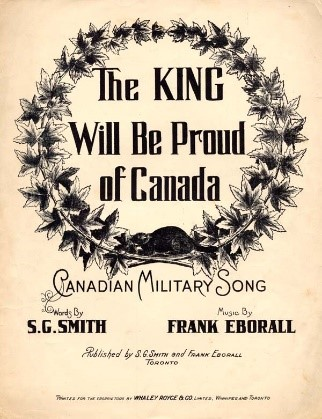 A black and white image where the words The King Will Be Proud of Canada are surrounded in a wreath of leaves and a beaver.