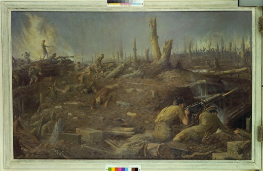 Oil painting by Kenneth Keith Forbes from 1918. The scene shows the defence of Sanctuary Wood by the Canadian military near Ypres, Belgium, in 1916.