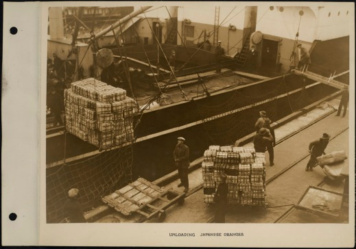 Port workers unloading crates of oranges from a ship, using cranes and carts.
