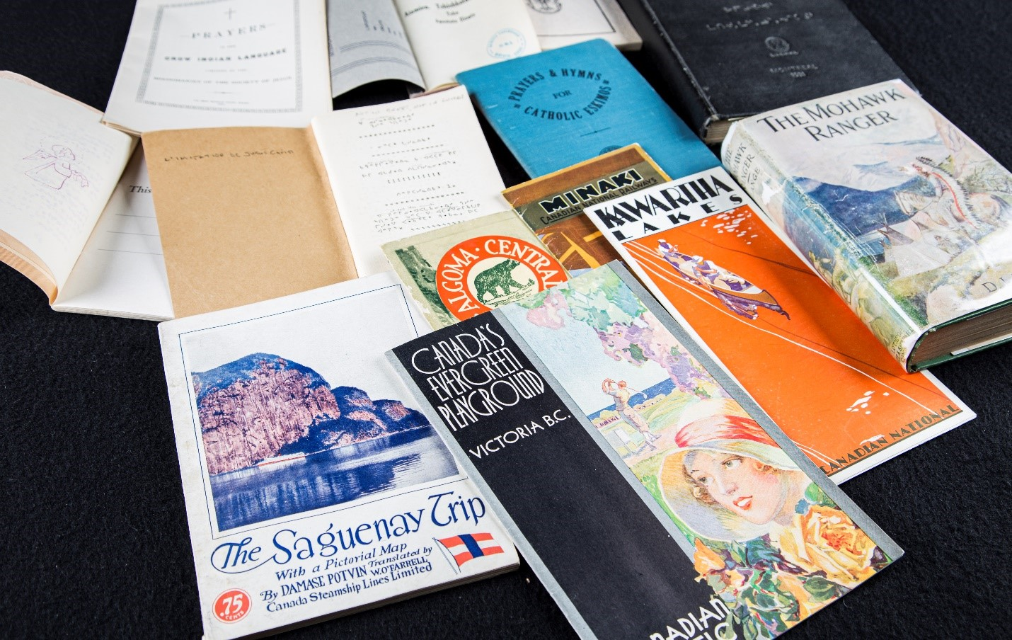 Colour photo of a variety of hardcover and softcover books.