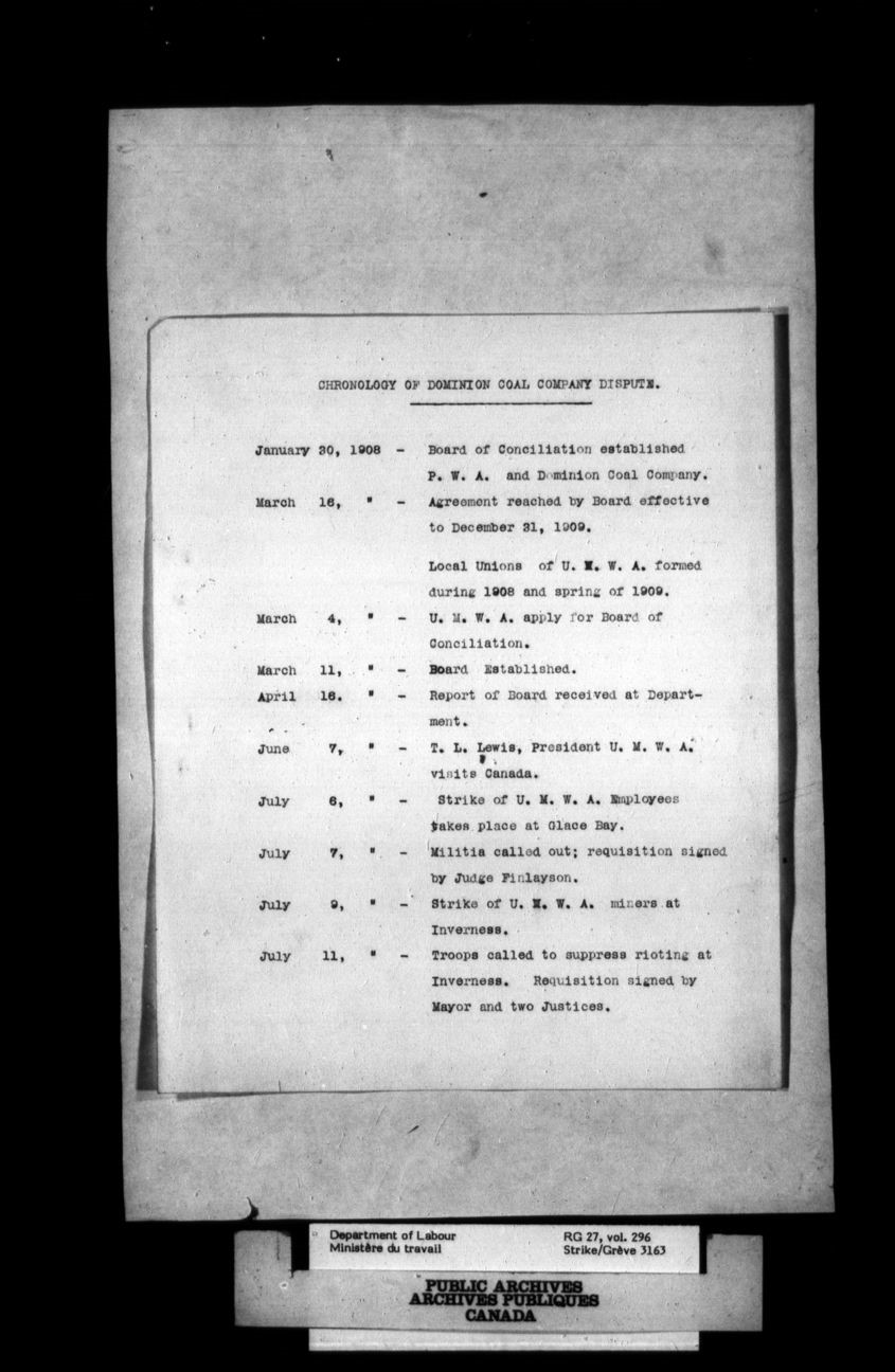 Black and white photograph of a typed document.