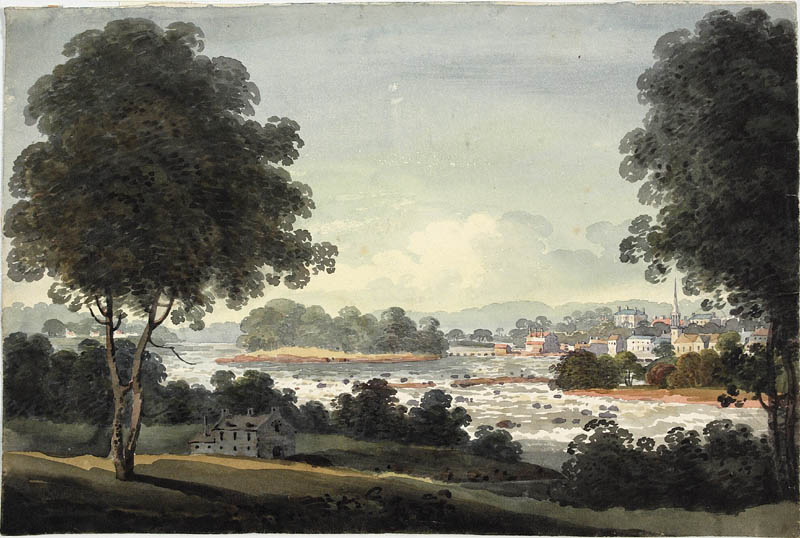 A watercolour painting with two large trees and a large stone house in the foreground, and a town in the distance.