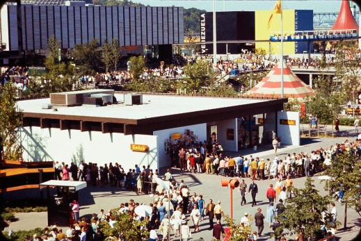 Colour photograph of the long lineup for the Kodak pavilion at Expo 67.