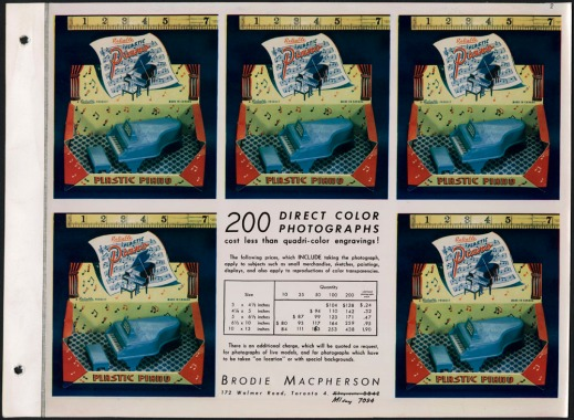 "Page with five duplicate photographs advertising a tiny blue piano and bench inside a red and yellow box covered with music notes. There is also print that reads ""200 Direct Color photographs cost less than quadri-color engravings!"""