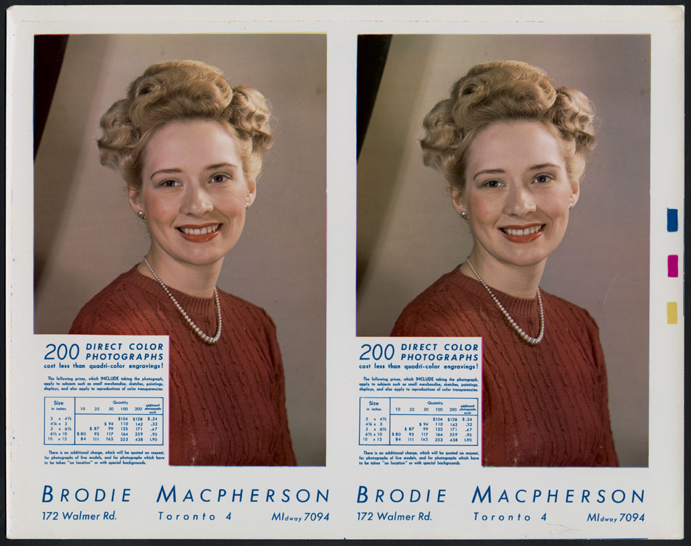Two identical studio portraits of an unknown woman with blond hair, red lipstick, and a red knit sweater. Macpherson's price list and contact information is superimposed on the bottom left-corner and also appears below the image.