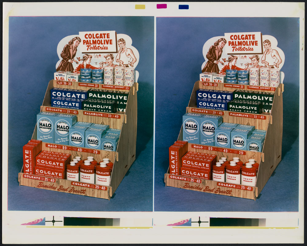 Dual colour photographs of a tiered display holding Colgate and Palmolive products, such as shaving cream, shampoo, dental cream, and tooth powder. The display was photographed in-studio against a blue background.