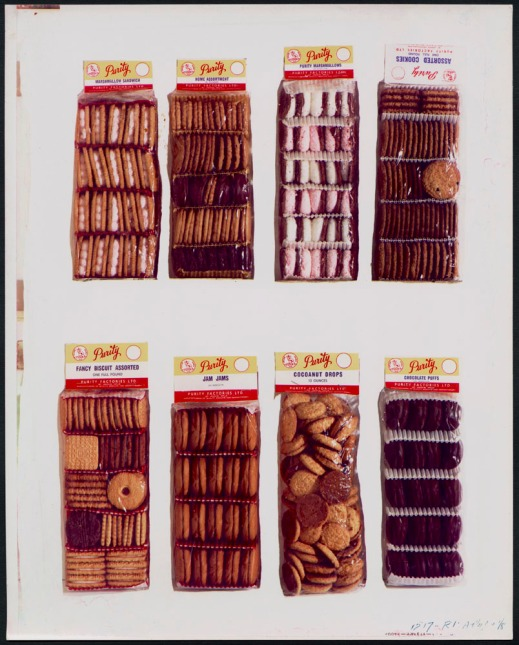 Colour print of eight different types of cookies and biscuits in clear packaging, as sold by Purity Factories Ltd.