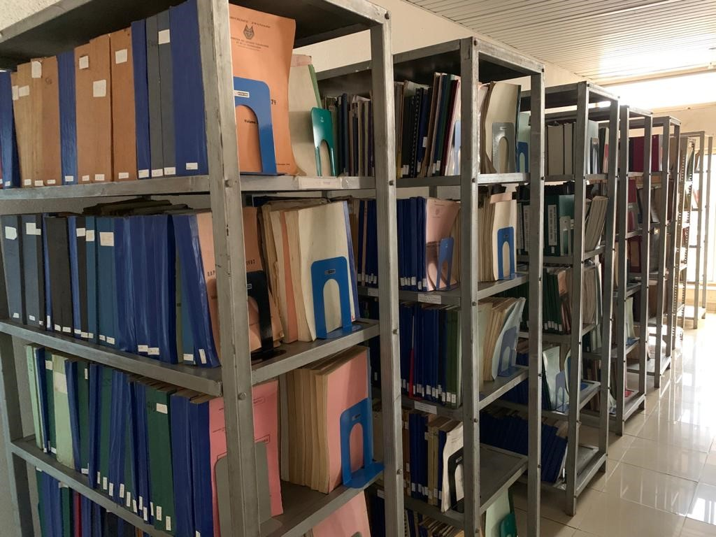 A colour photograph of archival materials on bookshelves.
