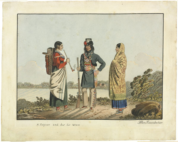 A watercolour painting of two women and a man. One of the women has a pipe in her hand and a baby in a cradleboard on her back. The man has a rifle in his hand.