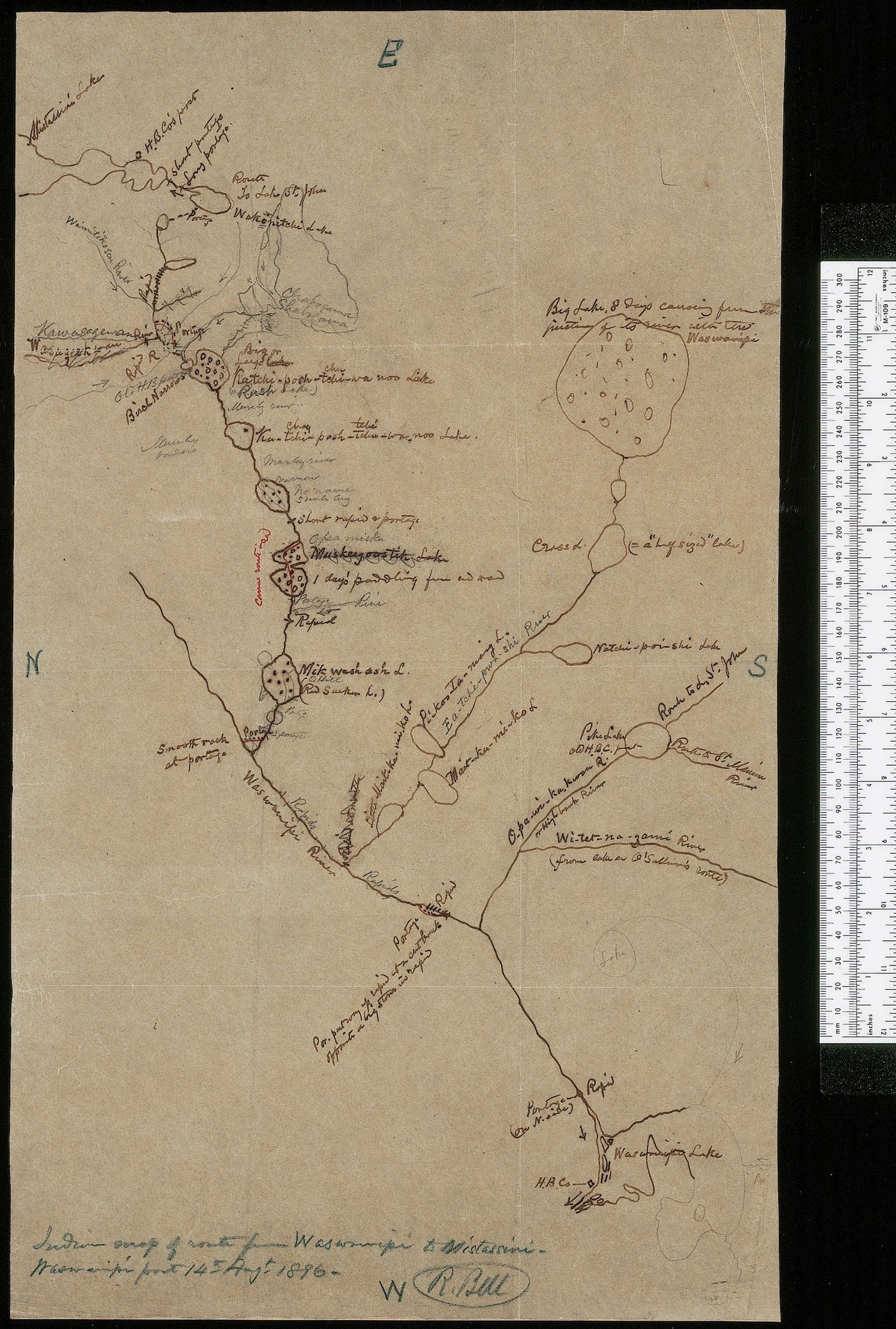 A hand-drawn map showing a river and bodies of water, with writing indicating locations and directions. On the right of the page is a white ruler, shown for scale.