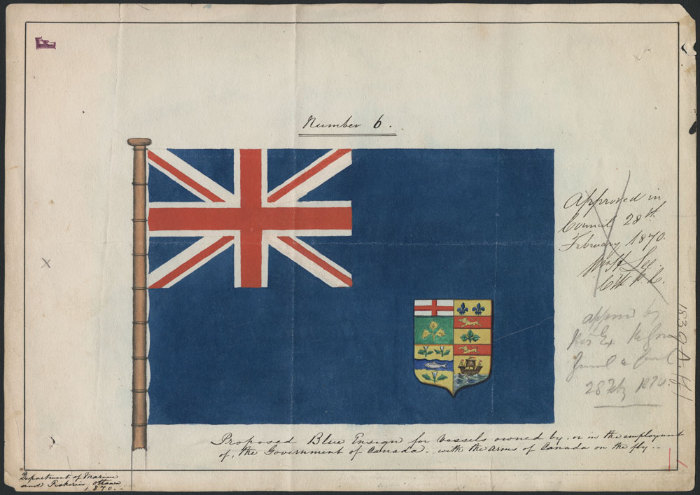 A painting of a blue flag with a Union Jack design in the upper-left-hand corner and a crest in the bottom-right-hand corner. There is handwriting to the right and at the bottom of the flag.