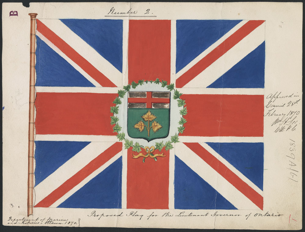 A painting of a flag consisting of a Union Jack design with a crest surrounded by a wreath of maple leaves in the middle. There is handwriting to the right and underneath the flag.