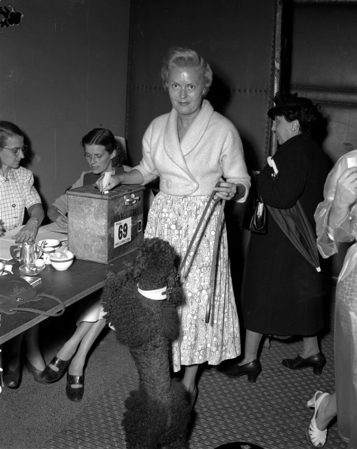 A black-and-white photograph of a woman placing her vote in a box, while smiling at the camera and holding her dog's leash. In the background are other women waiting to vote and checking the list of voters.