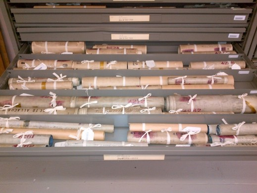 A colour photograph of rolled maps tied with undyed ribbon.