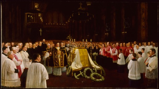 A painting of the state funeral of Sir John Thompson, in Halifax, Nova Scotia, featuring portraits of many of those attending