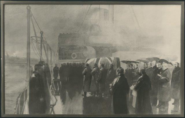 A photograph of an original oil painting which shows the deck of the HMS Blenheim upon its arrival in Halifax with former prime minister Thompson's remains.