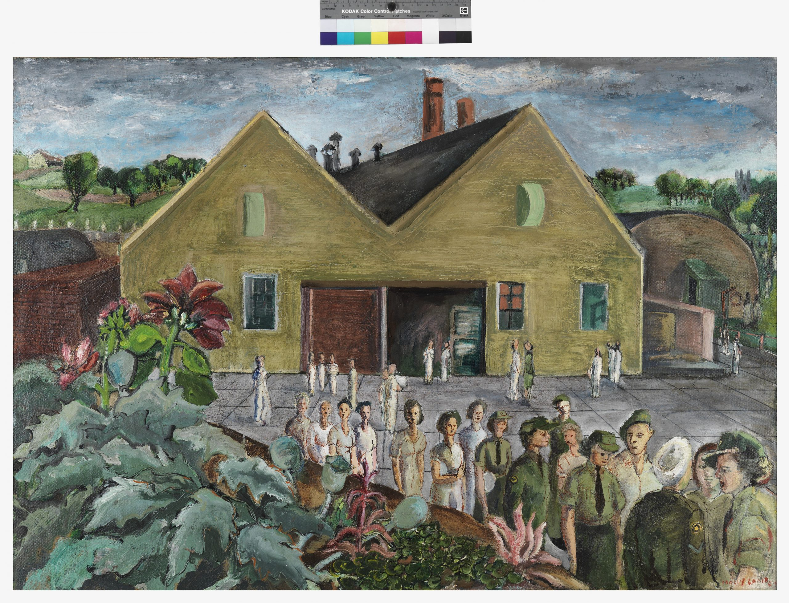 A colourful painting depicting a building and women (some in uniform) in a line, with rolling hills and trees in the background. This painting is the completed version of the painting on which Bobak is working in the photograph above