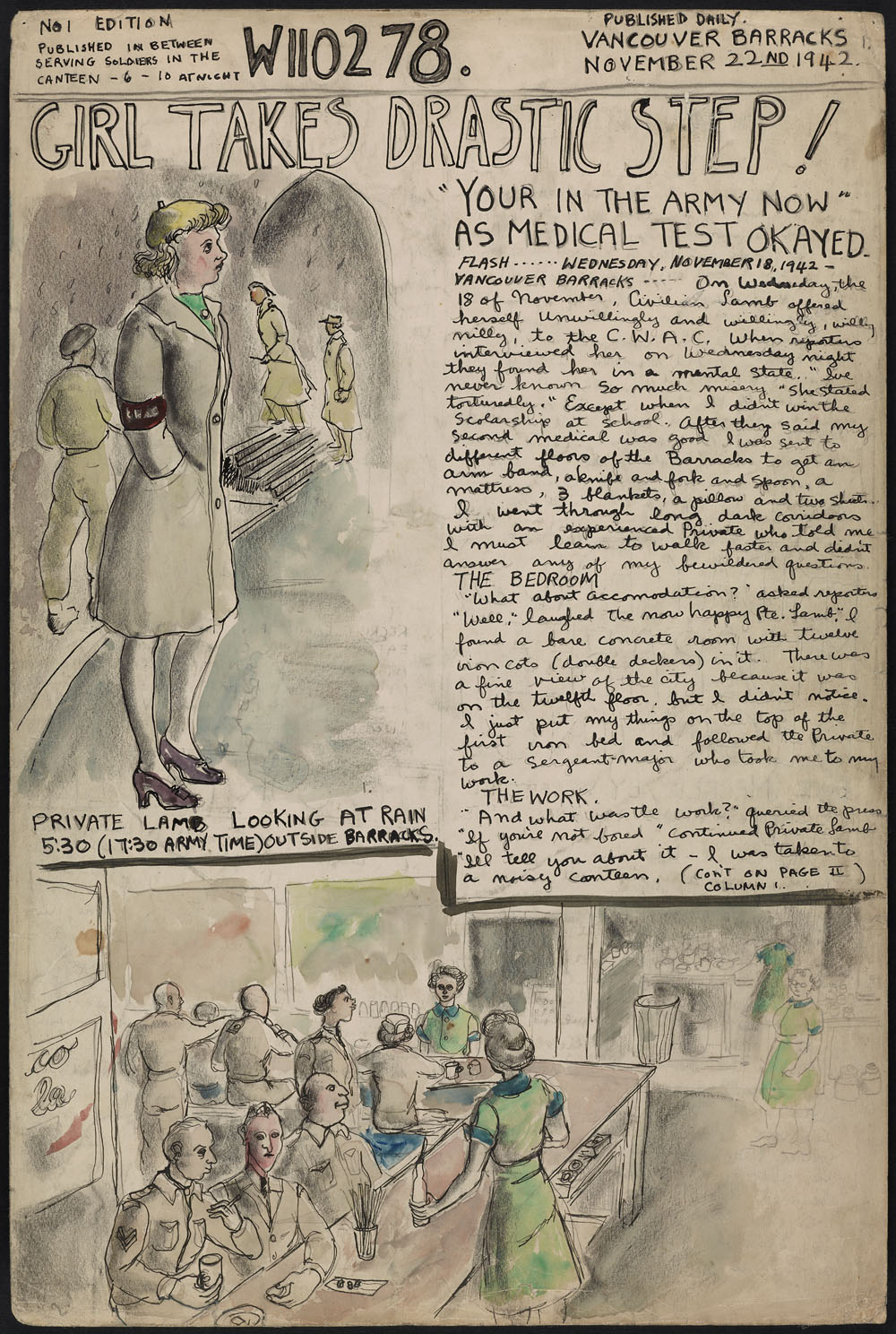 "A hand-drawn newspaper-style page with a column of text and illustrations of a woman in a military uniform and a diner scene. The titles ""W110278"" (Molly Lamb Bobak's service number) and ""Girl Takes Drastic Step!"" are written at the top"
