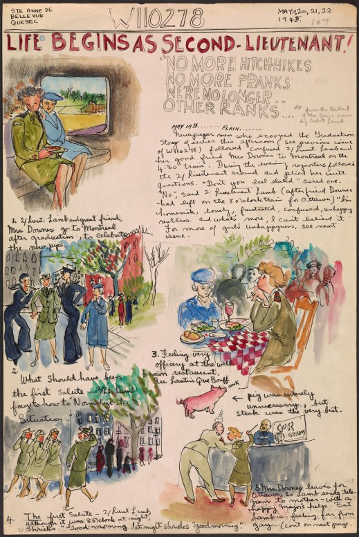 "A hand-drawn page with text and illustrations of two women in military uniforms, women posing for images, women eating at a restaurant, a small pink pig, and women marching. The title reads, ""Life Begins as Second Lieutenant!"""