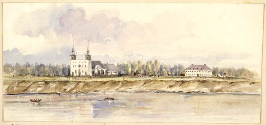 A watercolour painting of two white buildings with a river in the foreground. There are two boats on the river.