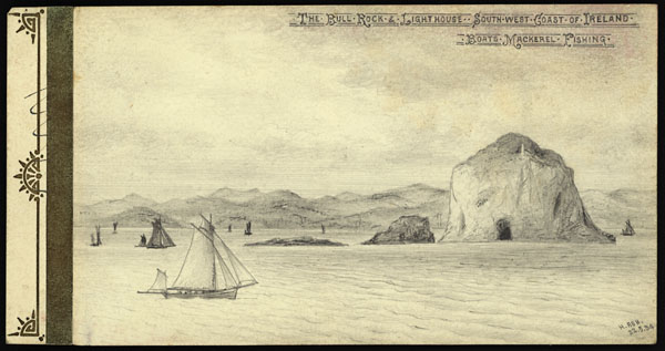 Sketch of Bull Rock and Bull Rock Lighthouse, located off the southwest coast of Ireland, with boats fishing for mackerel.