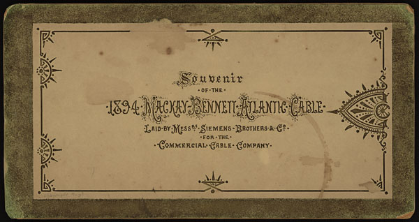 Cover of a souvenir book of the 1894 Mackay-Bennett Atlantic Cable.