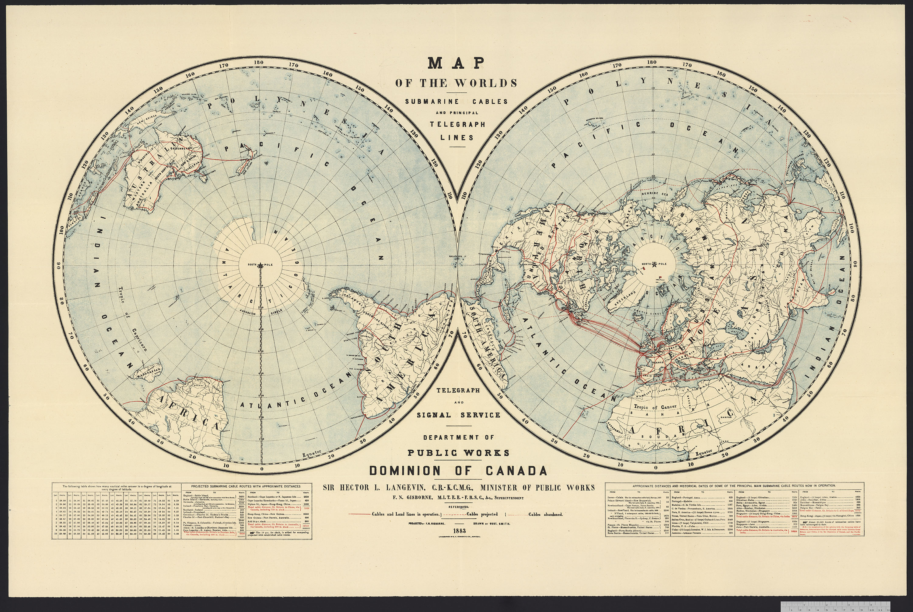 North and south map of the world showing telegraph lines across the Atlantic and overland.
