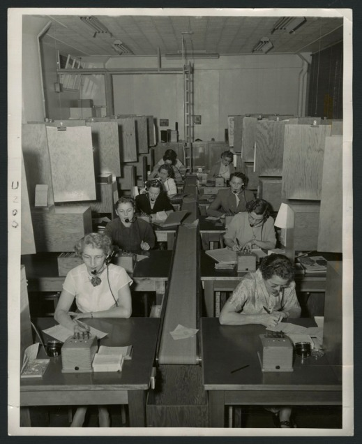 Four black-and-white photographs and two colour photographs showing women connected to telephone switchboards with headsets taking catalogue orders over the decades.