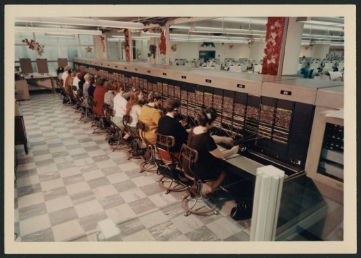 colour photographs showing women connected to telephone switchboards with headsets taking catalogue orders over the decades.