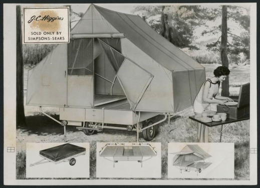 A black-and-white photograph showing a camper trailer, and a woman unpacking a set of dishes at a table, with smaller images of details of the camper at the bottom of the advertisement.