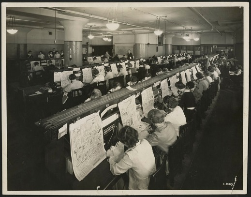 black-and-white photographs and two colour photographs showing women connected to telephone switchboards with headsets taking catalogue orders over the decades.