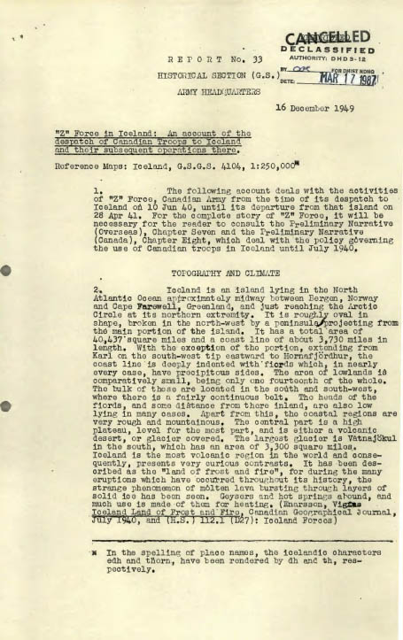 "Typed page of a historical report. The words ""Cancelled"" and ""Declassified"" can be read in black ink on a white background, in the upper right-hand corner."