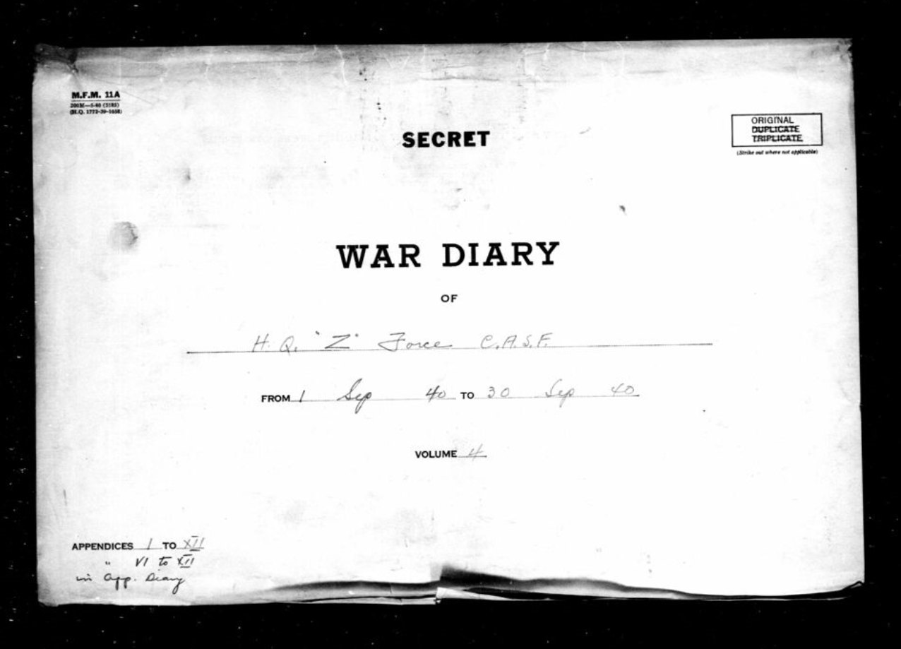 "Cover page of a war diary. The words ""Secret"" and ""War Diary"" are written in black ink on a white background."