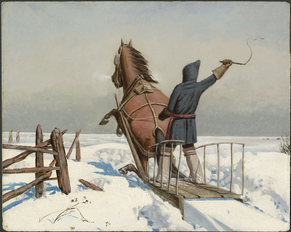 Painting of a person holding a riding crop above his head, standing on a sleigh being pulled through the snow by a rearing brown horse.