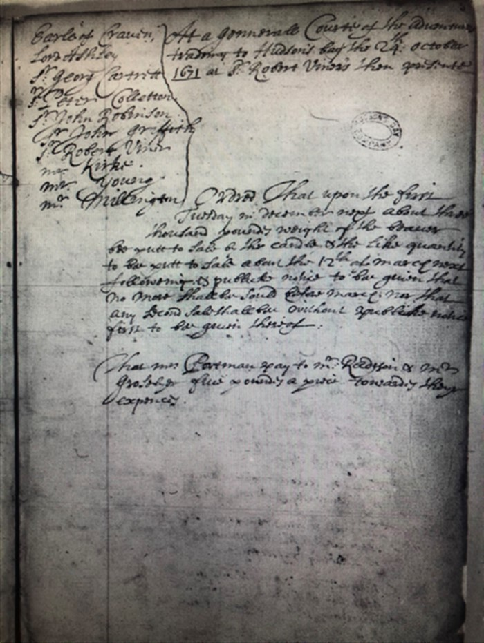 "Black-and-white image of a textual document, specifically, a minute book. The date ""24th October 1671"" can be seen in the top-right corner. On the left is a list of men who attended the meeting. The rest of the text comprises two paragraphs describing the discussion had during the meeting."