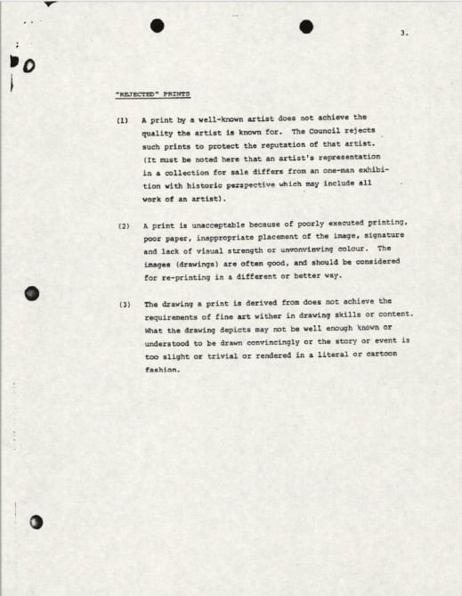 "A document with three typed paragraphs under the title ""Rejected"" Prints."