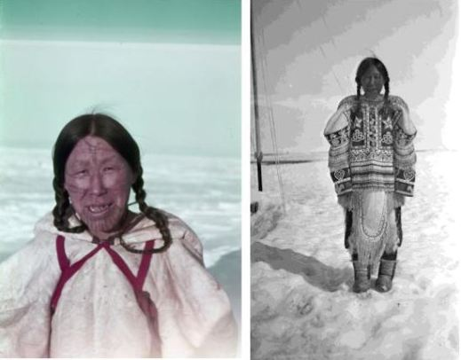 Left: A colour photo of an Inuk woman with facial tattoos wearing a white parka with red straps looking at the camera. Right: A black-and-white photo of an Inuk woman wearing a decorated parka standing in snow.